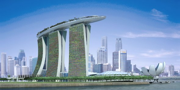Singapores spektkuläres Marina Bay Sands Casino und Resort