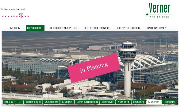 Verner and Friends vermarktet Telekom out of Home Airport Netzwerk