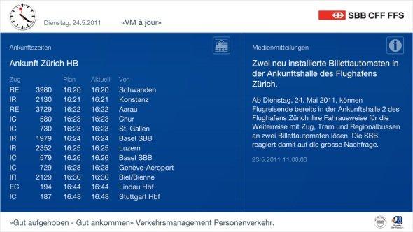 Infobildschirme Schweiz Screenimage bei der SBB
