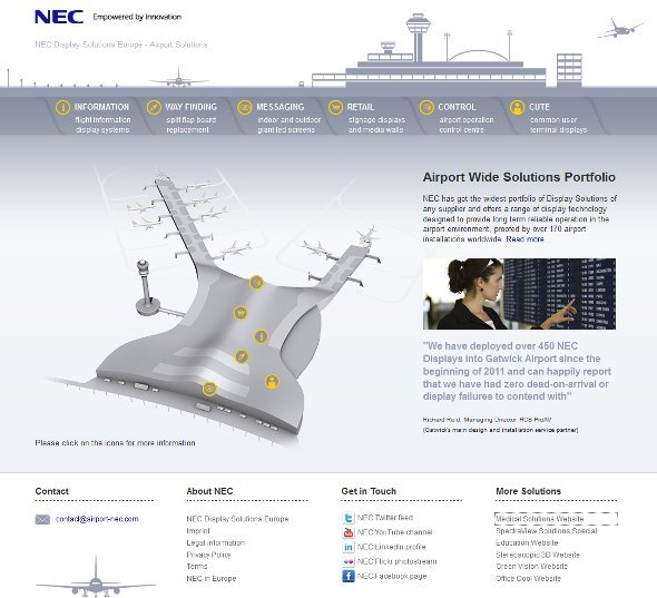 NEC Airport Displays Microsite