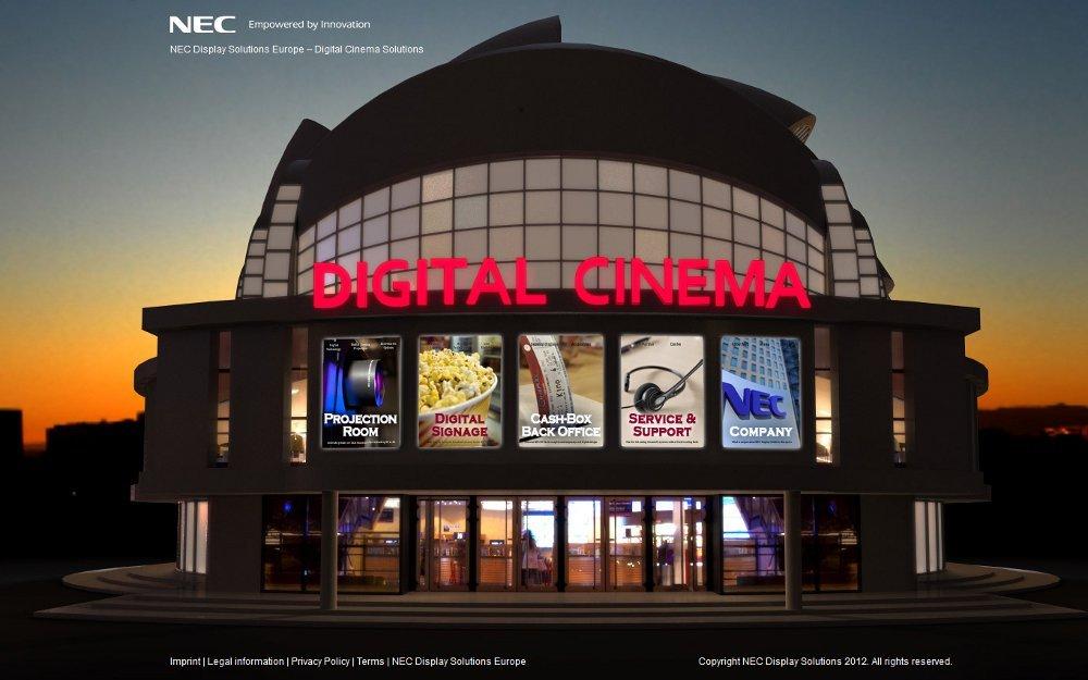 NEC Digital Cinema Lösungen mit eigener Microsite