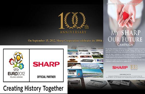 """Mit Fußball-EM-Sponsoring und """"My Sharp - Our Future"""" startet das japanische Unternehmen die Feierlichkeiten zu seinem Hundertsten (Montage: invidis.de)"""