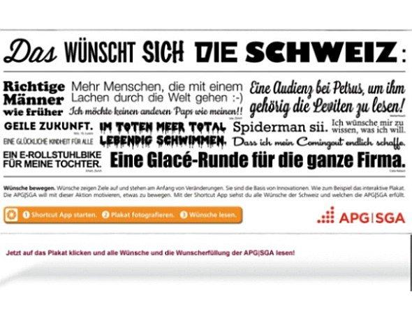 Im Schweizer Markt haben sich bisher alle Wünsche erfüllt - Motiv einer APG|SGA-Kampagne (Screenshot: invidis.de)