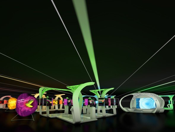 Sciene Tunnel 3.0: Aufbau der Ausstellung im Modell (Foto: Archimedes)