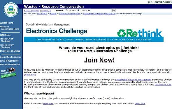Hersteller sollen grüner werden - EPA-Rethink- Website (Sreenshot: invidis.de)