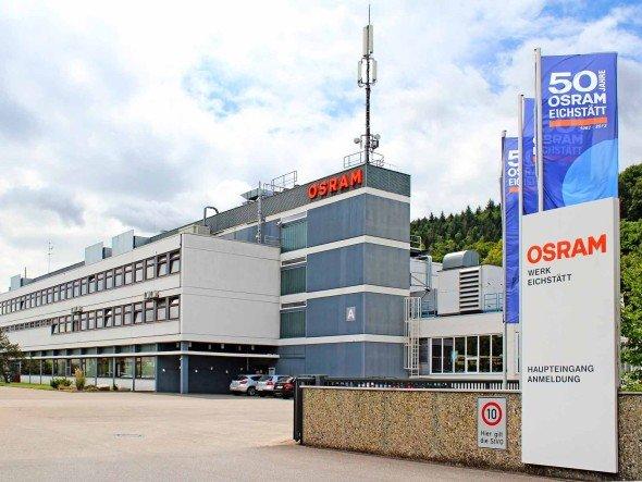Firmengelände des Osram-Standorts Eichstätt, der 2012 sein 50-jähriges Bestehen feiert (Foto: Osram AG)