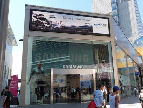 In das dritte Quartal fiel Olympia 2012 - Samsung Shop im Olympia-Park in Westfield, London (Foto: Samsung Korea)