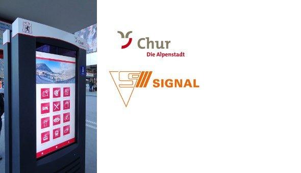Frisch eingeweiht: Der digitale Info-Point auf dem Churer Bahnhofsplatz