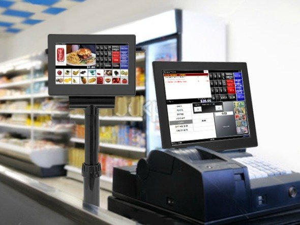Multifunktionaler Monitor am Point-of-Sale