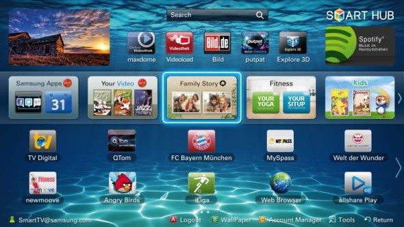 Gewinner-App wird zur Lauffähigkeit entwickelt- Screenshot des Samsung Smart Hub (Foto: Samsung)