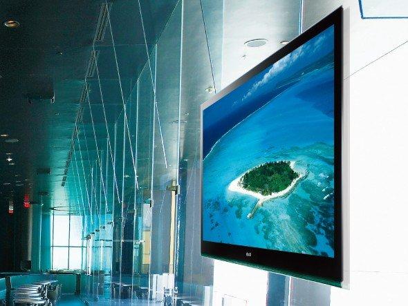 Auf der ISE zeigt LG eine Reihe von Neuheiten. Schwerpunktmäßig werden IPS-Panels präsentiert (Foto: LG)