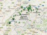 Mitte Februar 2013 - das Amscreen-Netz in der Schweiz (Screenshot: invidis.de)