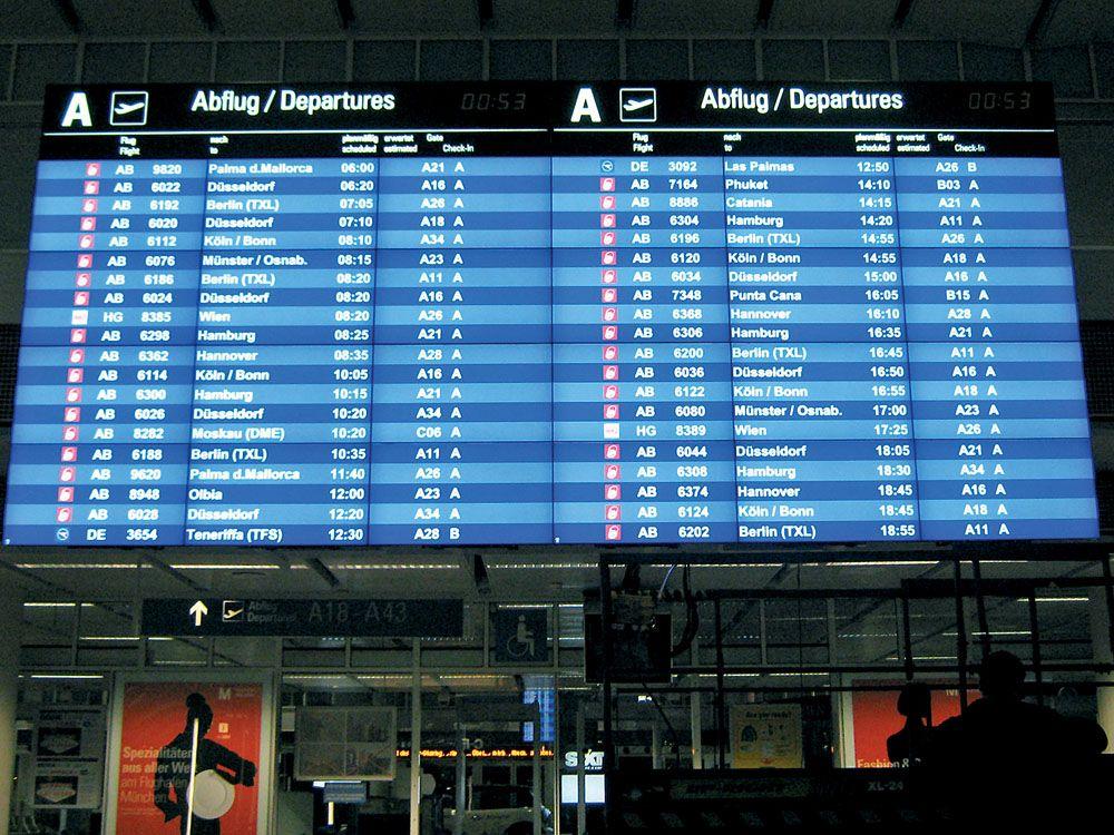 In München handelt es sich um eine Videowand mit 24 Displays (Bild: InoNet / Flughafen München)