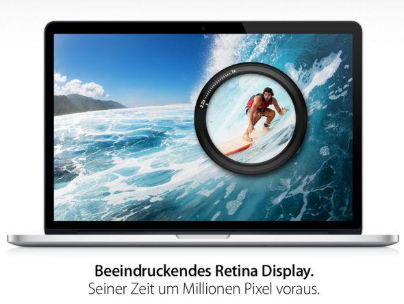 Anrollende Klagwelle wegen IPS-Display möglich - aktuelle Werbung für das MacBook Pro (Screenshot: invidis.de)