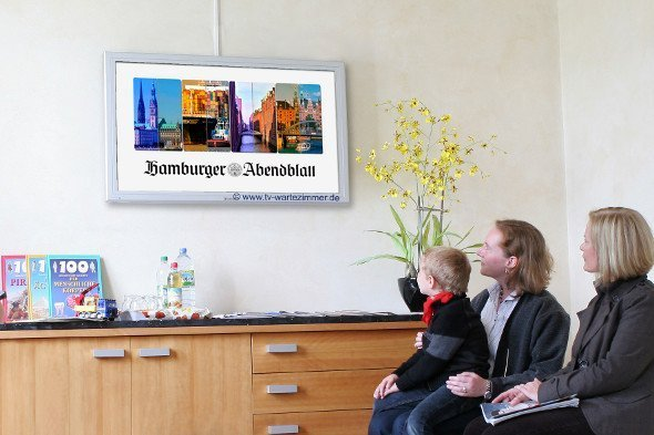 TV Wartezimmer mit Regionalnachrichten für Hamburg