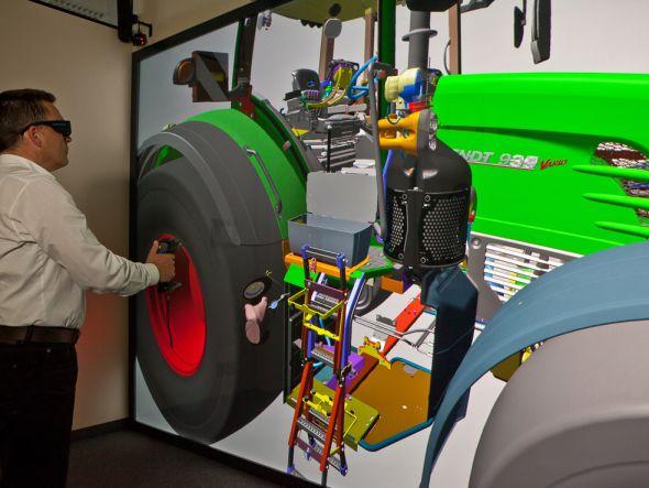 Treckerbau 2.0 - Mit Virtual Reality werden neue Landmaschinen geplant und getestet (Foto: Christie)