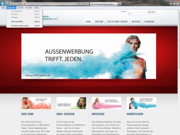 Geschenkt: Der FAW spendiert sich zum 50. eine neue Website (Screenshot: FAW)