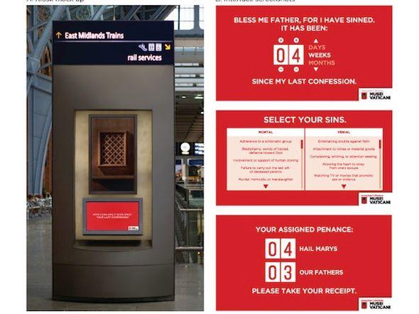 Out of Home-Werbemittel für die U-Bahn - Beichtstuhl mit Multitouch (Foto und Grafik: © James Meiser)