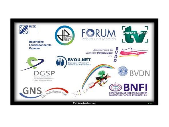 Das vor 10 Jahren in Freising gegründete Unternehmen kann jetzt den 35. Kooperationspartner aus dem Bereich der organisierten Ärzteschaft vorweisen (Grafik: TV-Wartezimmer)