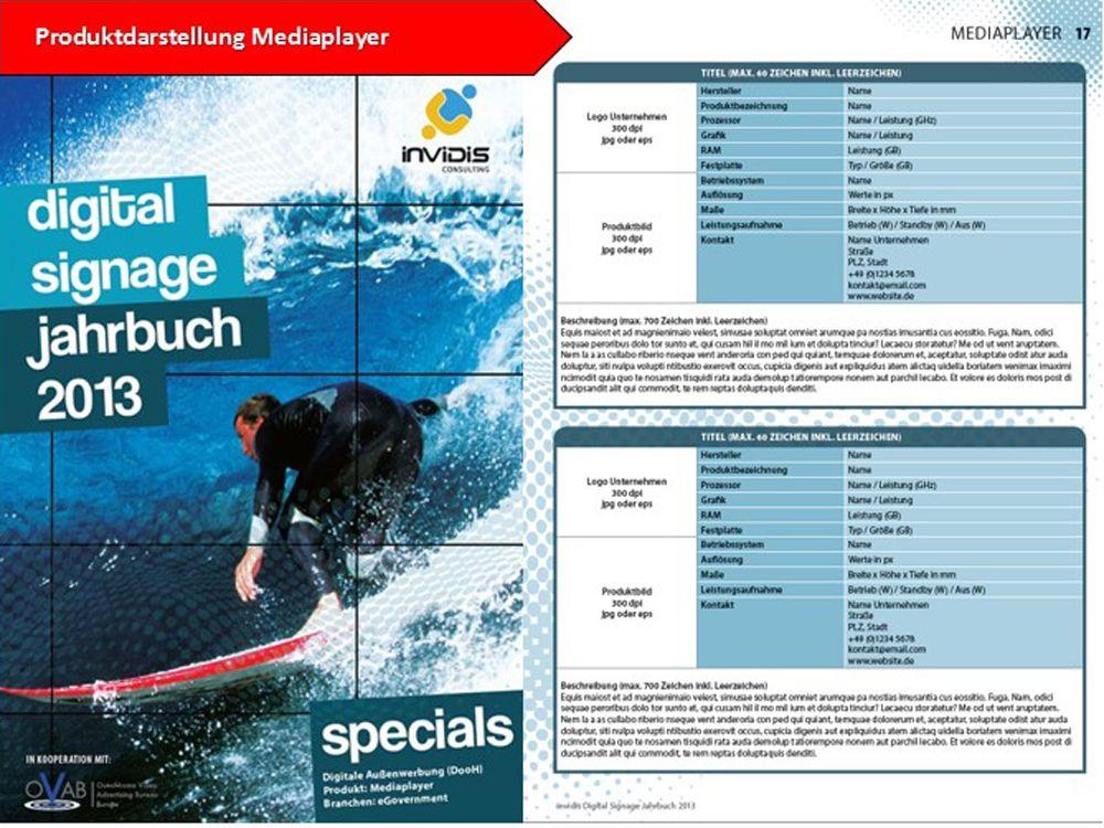 Produktdarstellung Mediaplayer im invidis Jahrbuch Digital Signage 2013