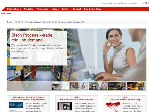 Nach dem Branding: Neue Website der Bison Maxess GmbH (Screenshot: invidis.de)