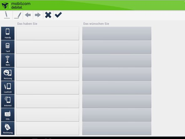 Screenshot der Bedarfsanalyse innerhalb der Pencil Selling-App von mobilcom-debitel (Screenshot:mobilcom-debitel)