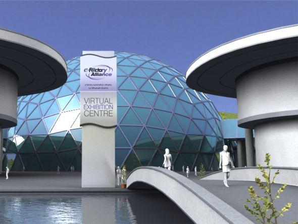 Insgesamt acht virtuelle Messehallen existieren (Grafik: Mitsubishi Electric)
