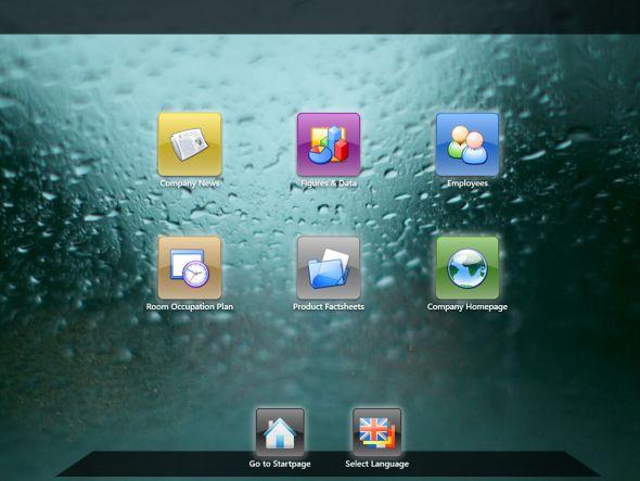 FrontFace for Touch Kiosks: anpassbares Glass-Theme (Screenshot: mirabyte)