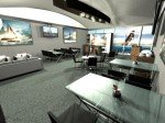 Blick in die Hospitality Lounge des Americas Cup 2013 (Foto. Americascup.com)