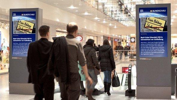BR News auf OC Mall Stelen im OEZ München