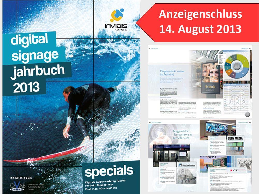 Anzeigenschluss am 14. August: invidis Jahrbuch Digital Signage