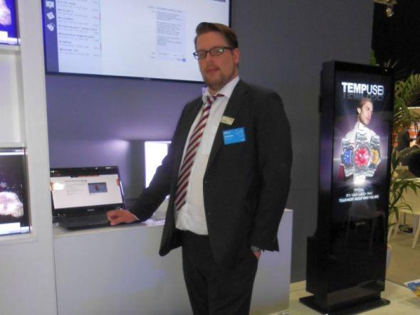 Roadshow 2013: Albert Roelen von Adversign stellt die auf SoC-Geräten laufende Software vieweo vor (Foto: Archiv)