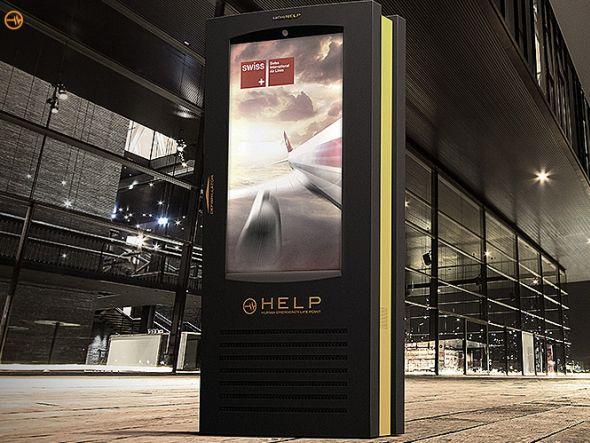 Die Stelen von HELP kombinieren Outdoor-Displays mit Technologie für Ersthelfer (Foto: HELP International AG )