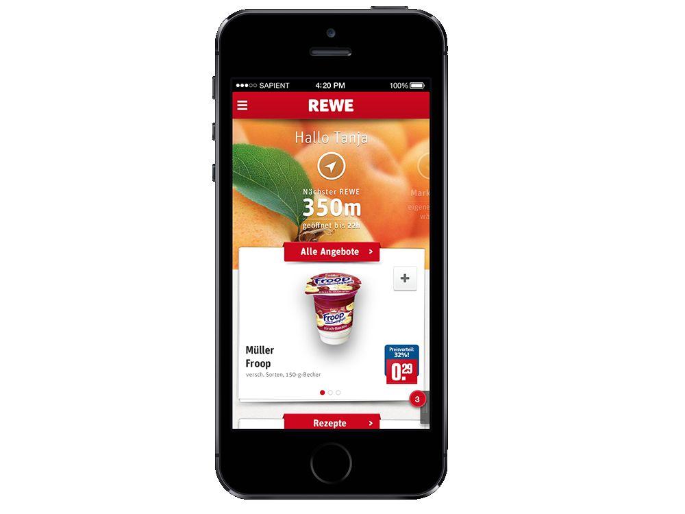 Früchte der Arbeit: REWE-App für iPhone (im Bild) und Android-Handys (Foto: Sapient)