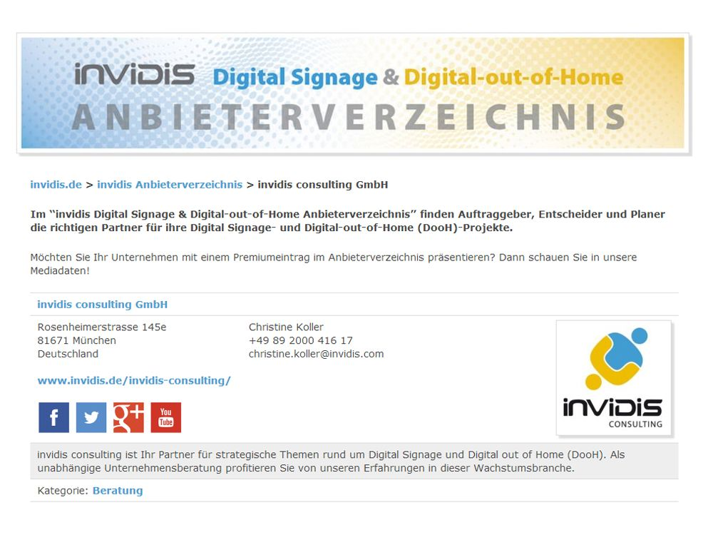 """Das neue """"invidis Digital Signage & Digital-out-of-Home Anbieterverzeichnis"""""""
