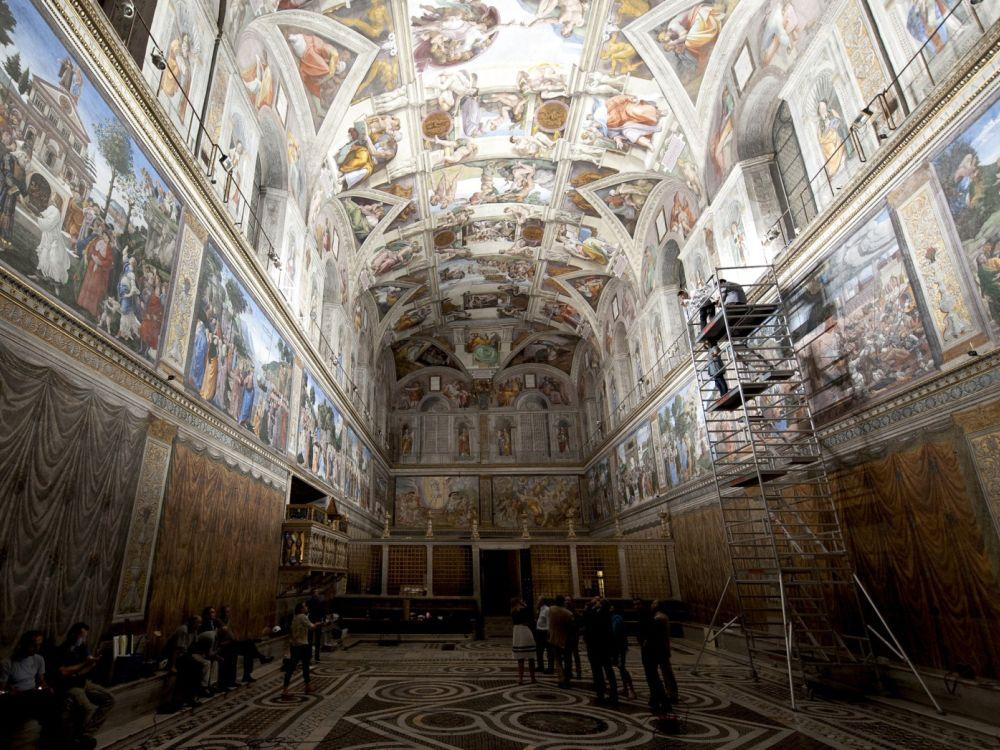 Testinstallation der LEDs in der Sixtinische Kapelle (Foto: Copyright – Governatorato dello Stato)