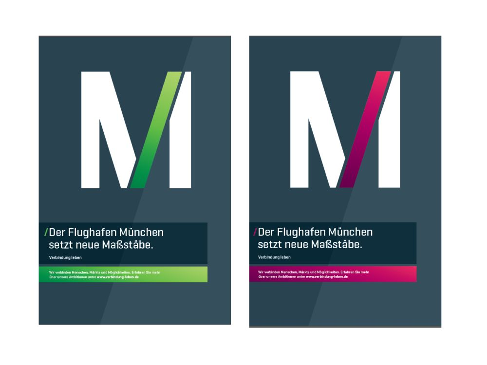 Zwei der vier Motive, mit denen aktuell in DooH und anderen Medien geworben wird (Fotos: Flughafen München, Collage: invidis.de)