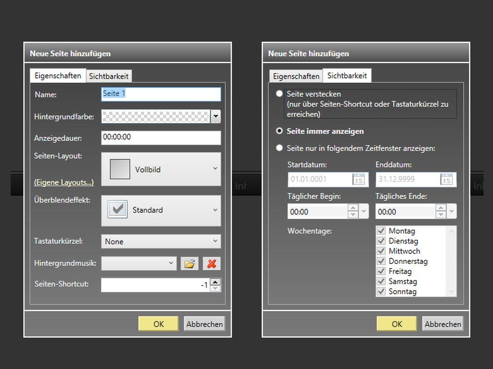 FrontFace for Public Displays 3.4.0 - Zeitsteuerung für Playlistseiten (Foto: mirabyte)
