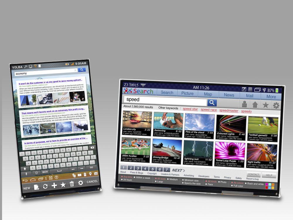 """JDI-Portfolio kleine und mittlere Displays: 7"""" UXGA-Display (l.) und 8,9 """" großes QXGA-Modell (Foto: JDI)"""