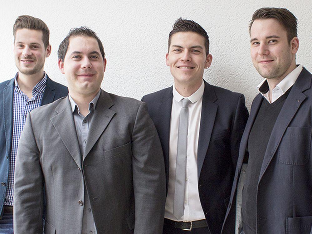 Johannes Scholz, Nicholas Krömker, Tilo Unger (Littlebit Technology Deutschland AG) und Sven Frackowiak (AOPEN) (Foto: Littlebit)