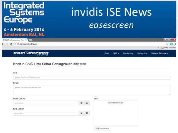 """""""Schulschlagzeilen"""" für Screens an Bildungseinrichtungen - Screenshot des neuen easescreen4schools (Screenshot: easescreen; Montage: invidis.de)"""