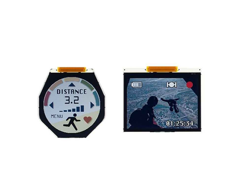 Die beiden ECB-LCDs für Memory-In-Pixel-Minidisplays gehen in Serie (Foto: JDI)