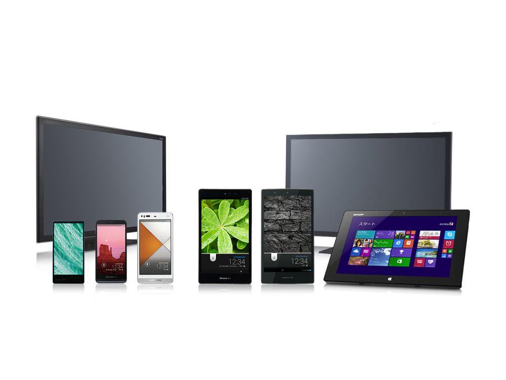Aktuelle Produkte in denen IGZO-Displays verbaut sind (Foto: Sharp)