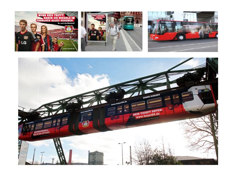 Der Werbeplatz auf der Schwebebahn (unten) wurde für 1 Jahr gebucht (Fotos: Bayer 04; Montage: invidis.de)