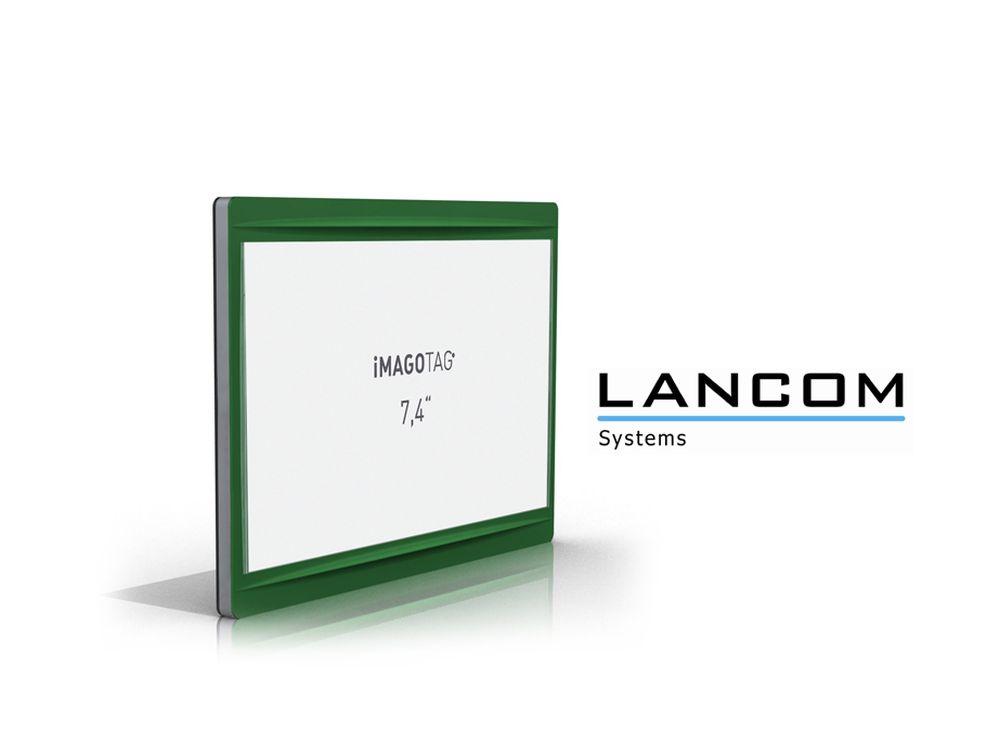 Premiere auf der EuroShop 2014 zu sehen - LANCOM und imagotag kooperieren (Foto: imagotag; Grafik: LANCOM; Montage: invidis.de)