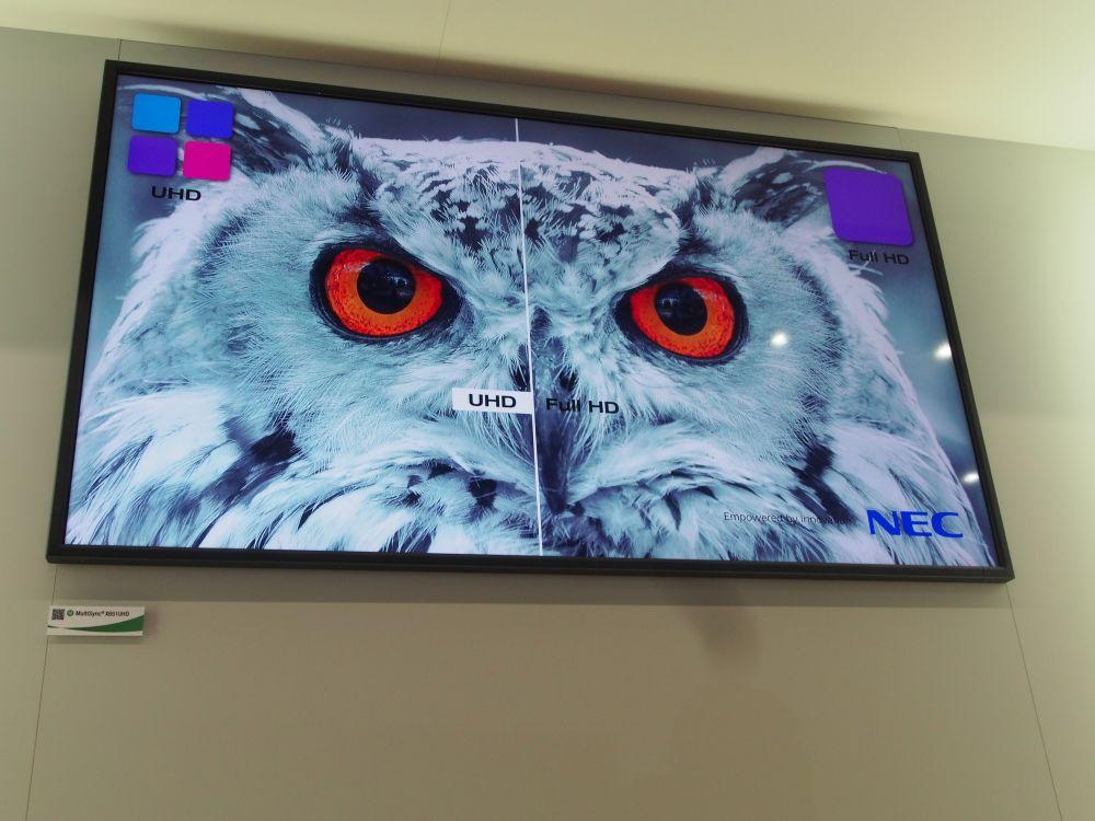 NEC zeigt den Unterschied zwischen Ultra HD und Full HD an seinem Stand (Foto: TK/ invidis.de)