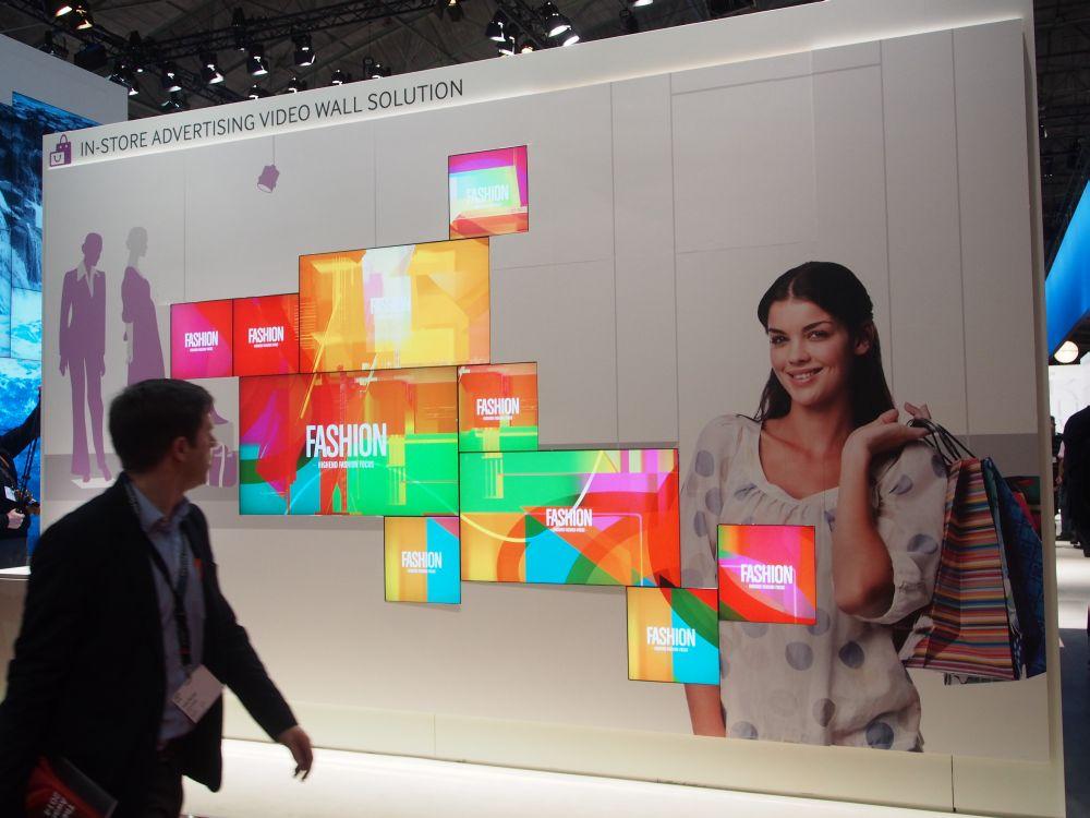 Samsung-Stand auf der ISE 2014: quadratische Displays weiterhin im Portfolio (Foto: TK/ invidis.de)