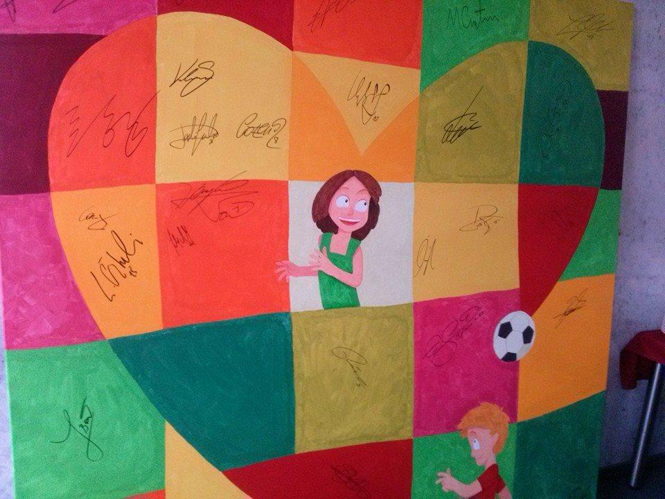 Bayers Fußballer wollen Ein Herz für Kinder auch künstlerisch unterstützen (Foto: LG)