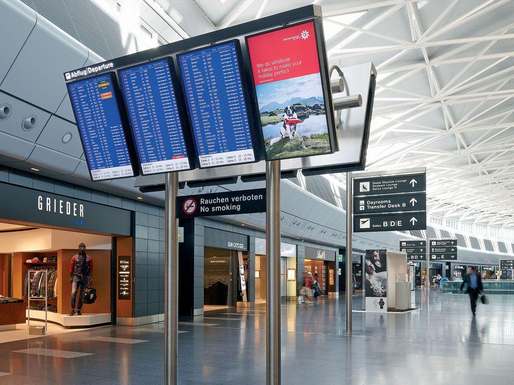 Airport Zürich: NEC-Displays am Flughafen in Kloten (Foto: NEC)