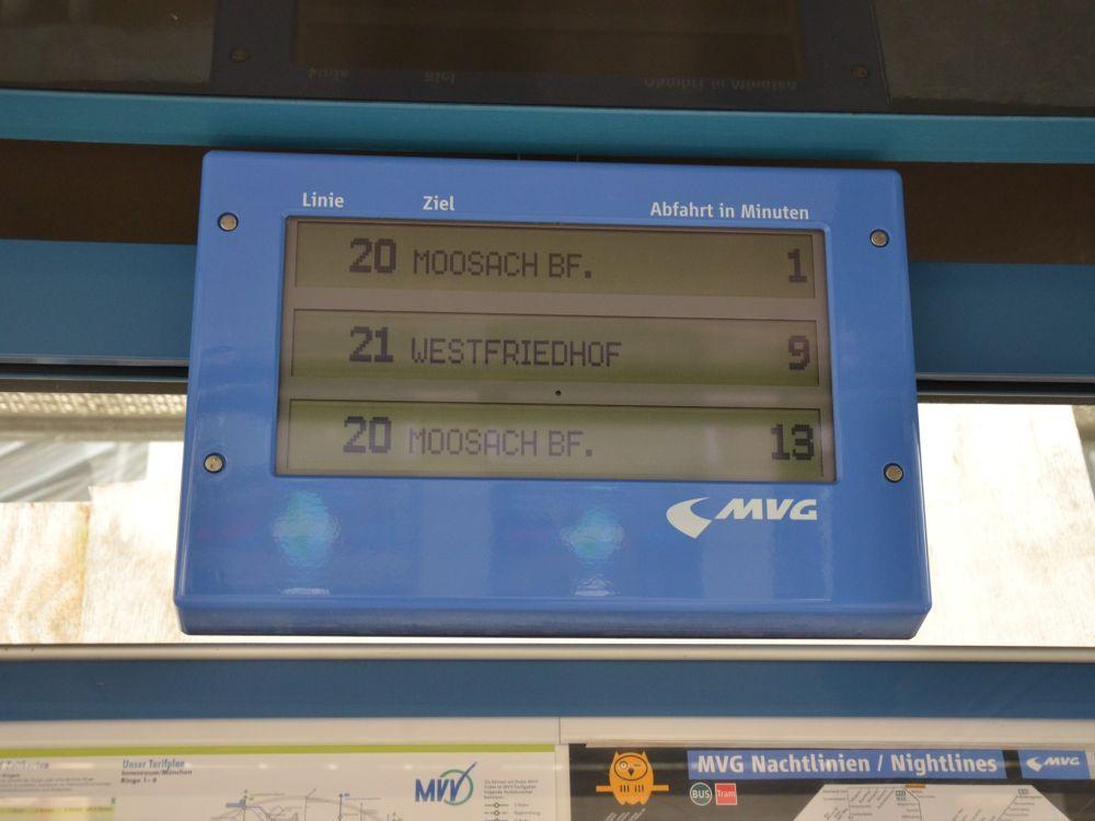 """Dynamische Fahrgastinformationen werden über die """"DFI light""""-Displays angezeigt (Foto: SWM/MVG)"""